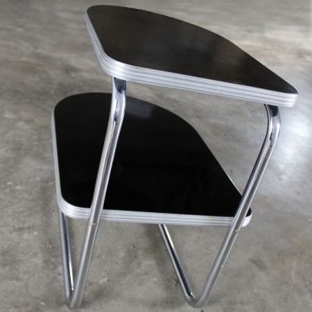 Art Deco Machine Age Streamline Moderne Chrome and Black Two-Tiered End Table by Duro Chrome