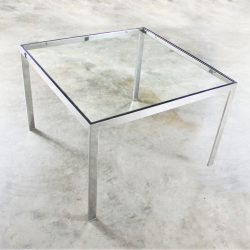 Chrome and Glass Milo Baughman Attribution Parsons Style End Table Vintage Modern