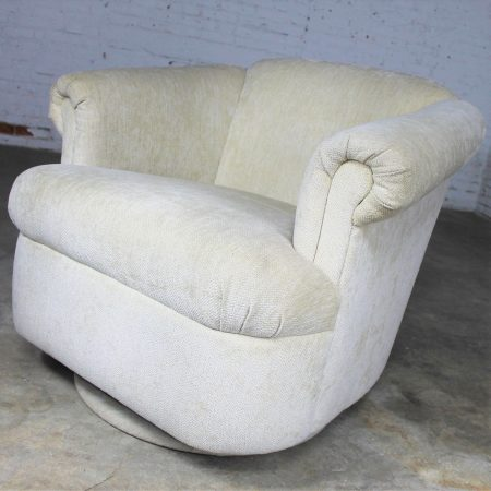 Barrel Shaped Off White Vintage Swivel Club Chair with Rolled Arms