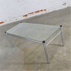 Chrome and Glass Coffee Table Mid Century Modern Attributed to James David Furniture