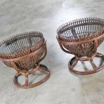 Pair Fish Trap Basket Tables in the Style of Franco Albini