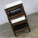 Black and White Upholstered Stacking Ottomans with Teak Ming Style Feet Mid Century
