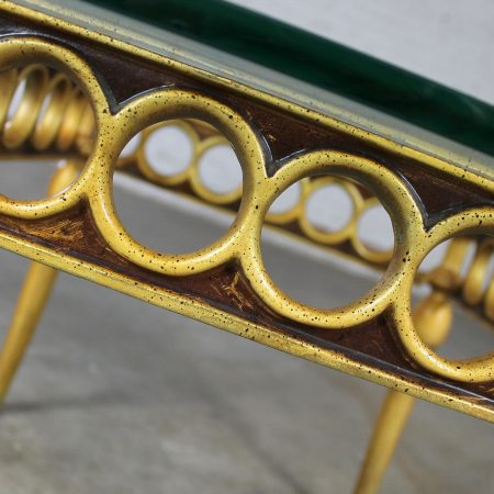 Hollywood Regency Art Deco Style Glass Topped Side Table of Gilded Cast Aluminum