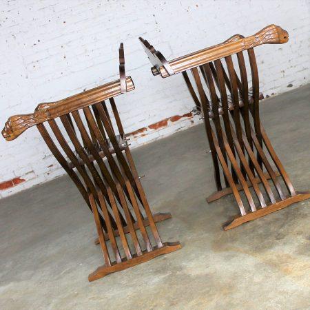 Walnut Savonarola Chairs with Carved Lion Head Arms Vintage Pair