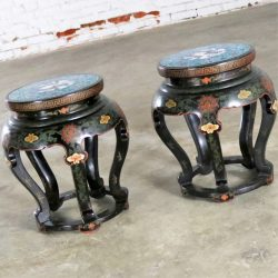 Chinese Cloisonné and Black Lacquered Round Stools or Side Tables