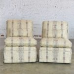 Striped Slipper Roll Back Chairs a Vintage Pair