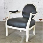 Black and Antique White Transitional Fauteuil Open Arm Side or Accent Chair