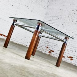 Karl Springer Style Oak Chrome Glass End Table Mid Century Modern