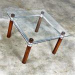 Karl Springer Style Oak Chrome Glass End Table Mid Century Modern