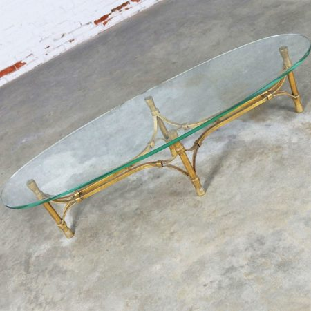 Mid Century Hollywood Regency Gilt Iron Base Coffee Table with Elliptical Glass Top