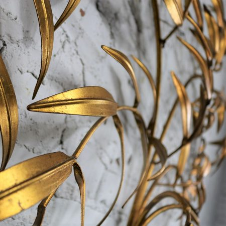 Italian Gilt Metal Wall Sculpture of Branches with Leaves Mid Century Hollywood Regency