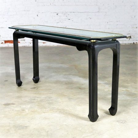 James Mont Style Sofa Console Table in Black Lacquer with Brass Trim and Glass Top