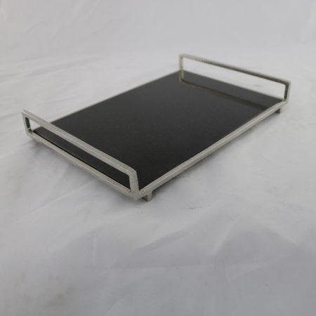 Michael Aram Geometric Cheese Board Polished Stainless Steel and Black Granite