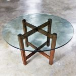 Modernist X-Base Dining Room Table with Round Glass Top