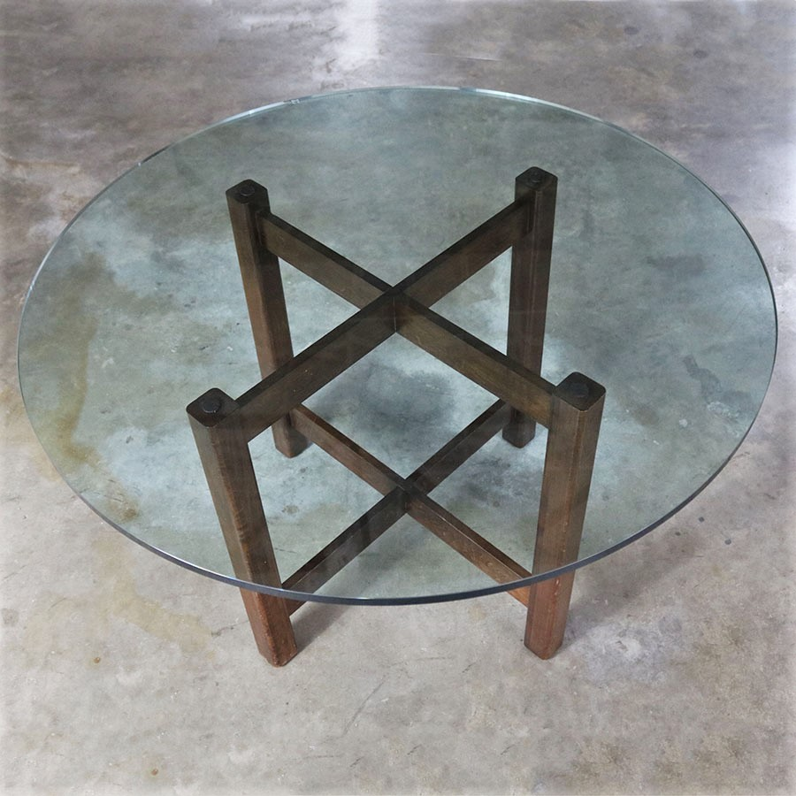 Modernist X Base Dining Room Table With Round Glass Top