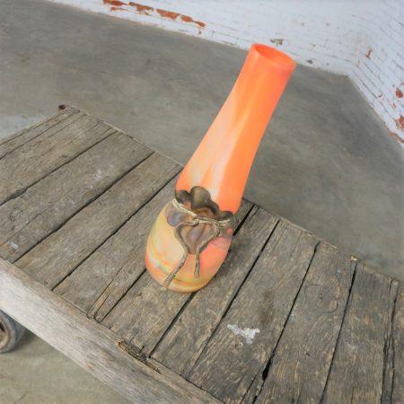 Monumental Filip Ravert Orange Blown Slag Glass Vase Cinched Waist Metal Wrap