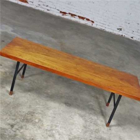 Made in Denmark Coffee Table with Teak Top and Black Metal Base