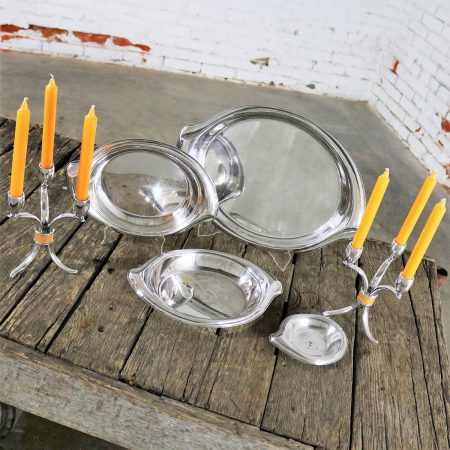Flair Candelabra and Serving Trays Set of Six Mid Century Modern by 1847 Rogers Bros.