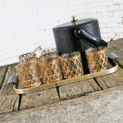 Black George Briard Ice Bucket with Eight Culver Cocktail Glass and MCM Tray