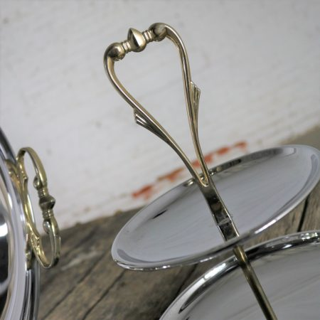 Kromex Trio of Chrome and Goldtone Serving and Tidbit Trays