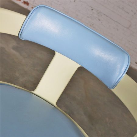 Daystrom Furniture Tulip Style Swivel Chairs in Baby Blue and White