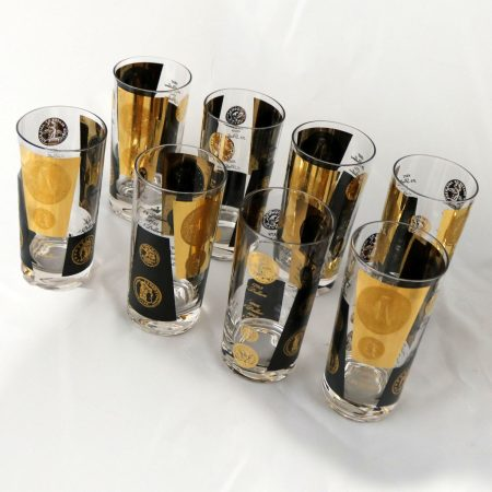 Extensive Set of 22-Karat Gold and Black Coin Barware and Glasses by Cera Mid Century Modern