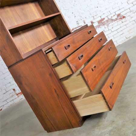 Two Piece Bookcase Display Cabinet Attributed to Founders Furniture Mid Century Modern