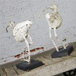 Monumental Shell Encrusted Burlap and Wire Wading Bird Sculptures, a Pair