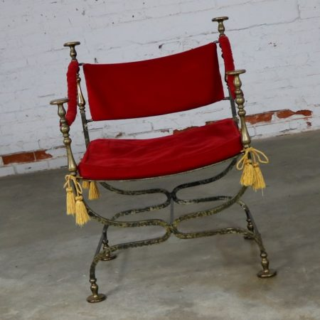 Wrought Iron and Brass Curule Savonarola Chair Mid 20th Century