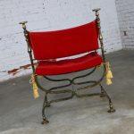 Wrought Iron and Brass Curule Savonarola Chair Mid 20th Century