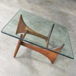 HOLD-Adrian Pearsall Walnut and Glass Sculptural Cocktail Table for Craft Associates