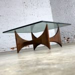 Adrian Pearsall Walnut and Glass Sculptural Cocktail Table for Craft Associates