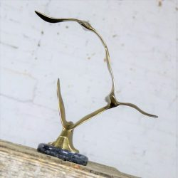 Mid Century Modern Brass and Marble Birds in Flight Sculpture Style of C. Jere