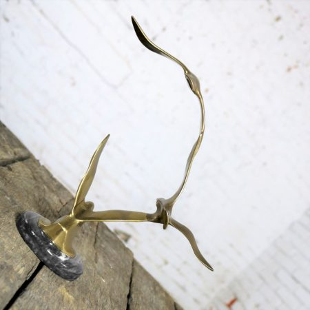 Mid Century Modern Brass and Marble Birds in Flight Sculpture Attributed to C. Jere