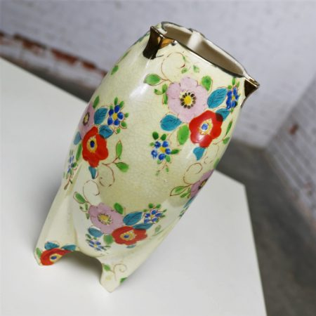 Japanese Art Deco Lusterware Vase Floral with Gold Accent circa 1900's-1940's