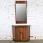 MCM Entry Console Cabinet and Mirror Basket Weave Style of Lane Perception by Warren C. Church