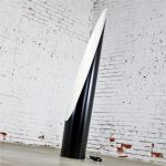 Modern Black and White Fiberglass Cylinder Floor Lamp with Elliptical Opening