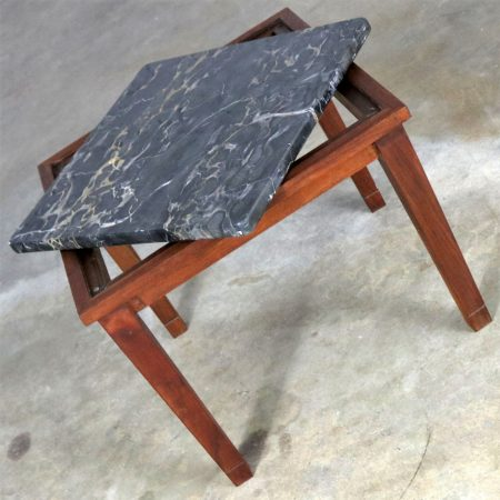 Mid Century Modern Walnut and Black Marble Square End or Side Table