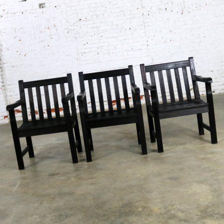 Vintage Windsor Blackened Teak Outdoor Armchairs