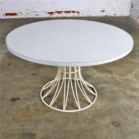 Mid Century Modern Round Wrought Iron and Laminate Patio Dining Table Style of Arturo Pani