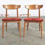 Pair Mid Century Modern Birchcraft Danish Style Side Chairs by Baumritter