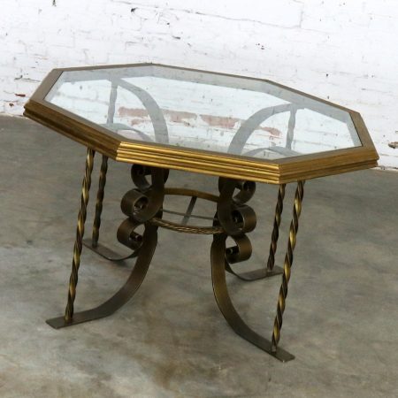 Hollywood Regency Wrought Iron Dining Table with Octagon Gilded Wood Rimmed Glass Top