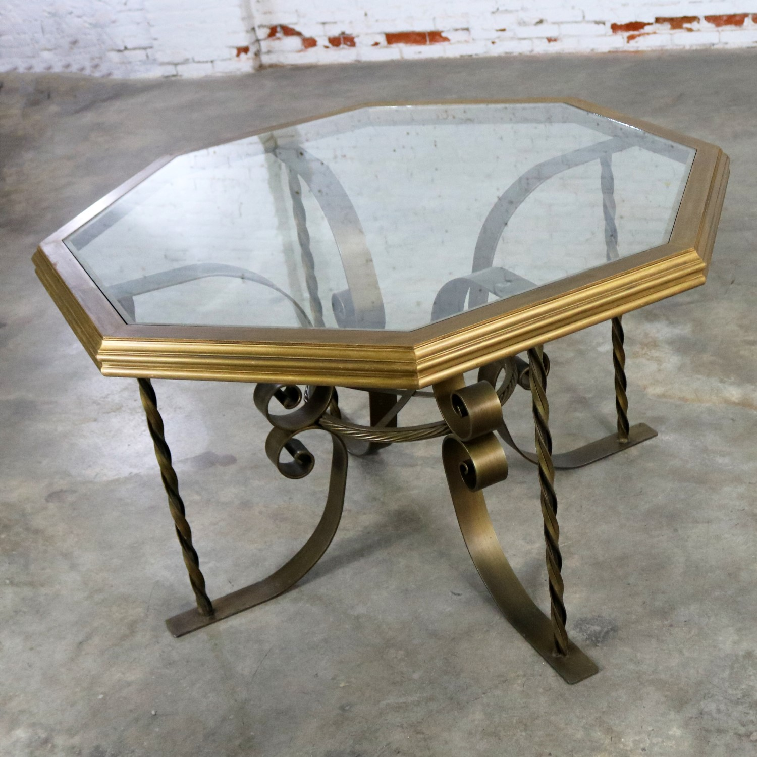 Hollywood Regency Wrought Iron Dining Table with Octagon ...