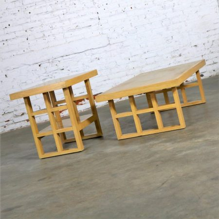 Mid Century Modern Blonde Oak Window Pane End Table and Coffee Table Pair