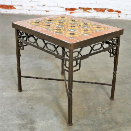 Art Deco Wrought Iron and Tile Side Table California Style Tiles