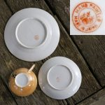 Japanese Peach Lusterware Cherry Blossom Design Luncheon Set for Four