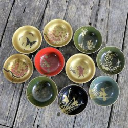 Antique Japanese Maki-e Lacquered Rice or Soup Bowls Set of Ten