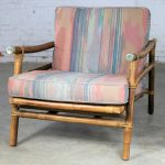 Ficks Reed Rattan Lounge Club Chair by John Wisner Campaign Style Far East Collection