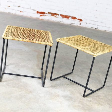 Calif-Asia Style Wrought Iron and Rattan Side Tables Mid Century Modern, a Pair