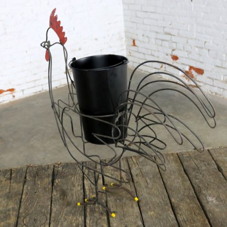 Wire Rooster Folk Art Planter with Red Comb Yellow Toes and Black Bucket